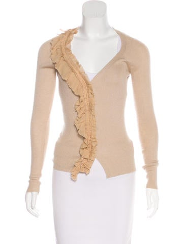 Prada Ruffle-Trimmed Knit Cardigan None