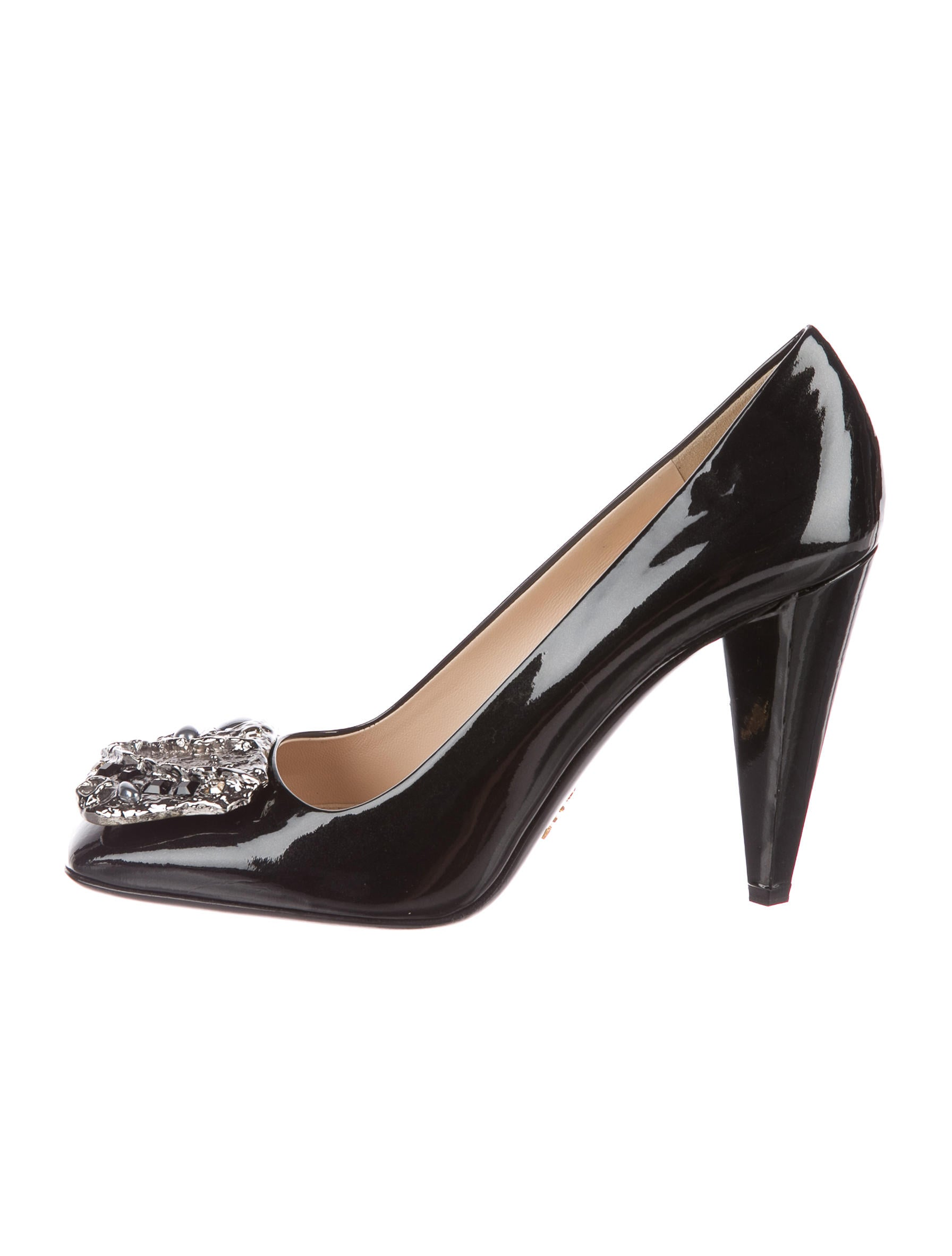 Prada Embellished Patent Pumps w/ Tags cheap sale manchester great sale Dn1yo