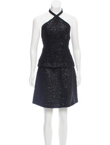 Prada Metallic Wool & Mohair-Blend Skirt Set None