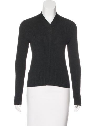 Prada Long Sleeve Rib Knit Sweater None