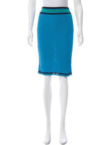 Prada Rib Knit Knee-Length Skirt None