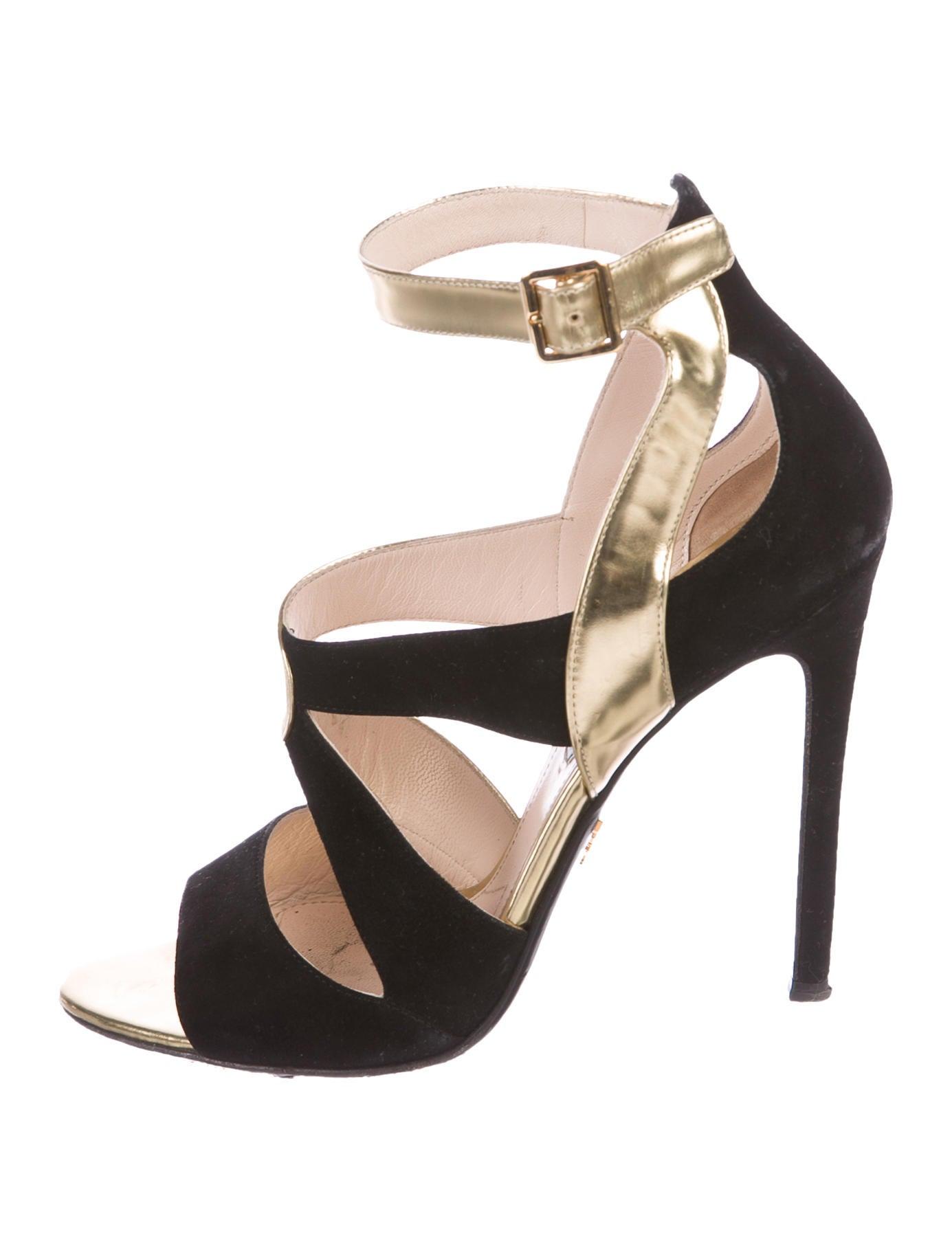 Prada Bi-Color Round Sandals Manchester cheap online lmz6M0mzG2