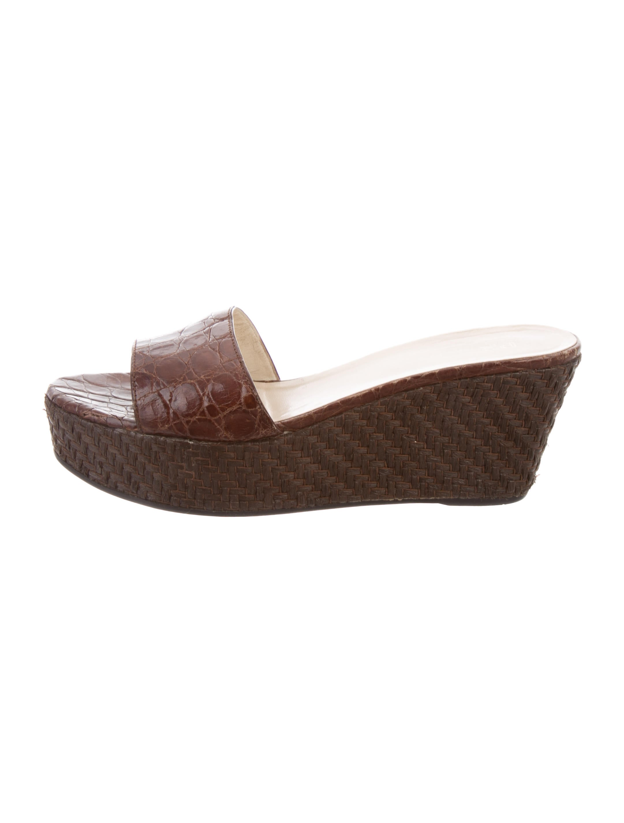 discount pay with visa Prada Alligator Slide Wedges cheap sale newest PnnUl