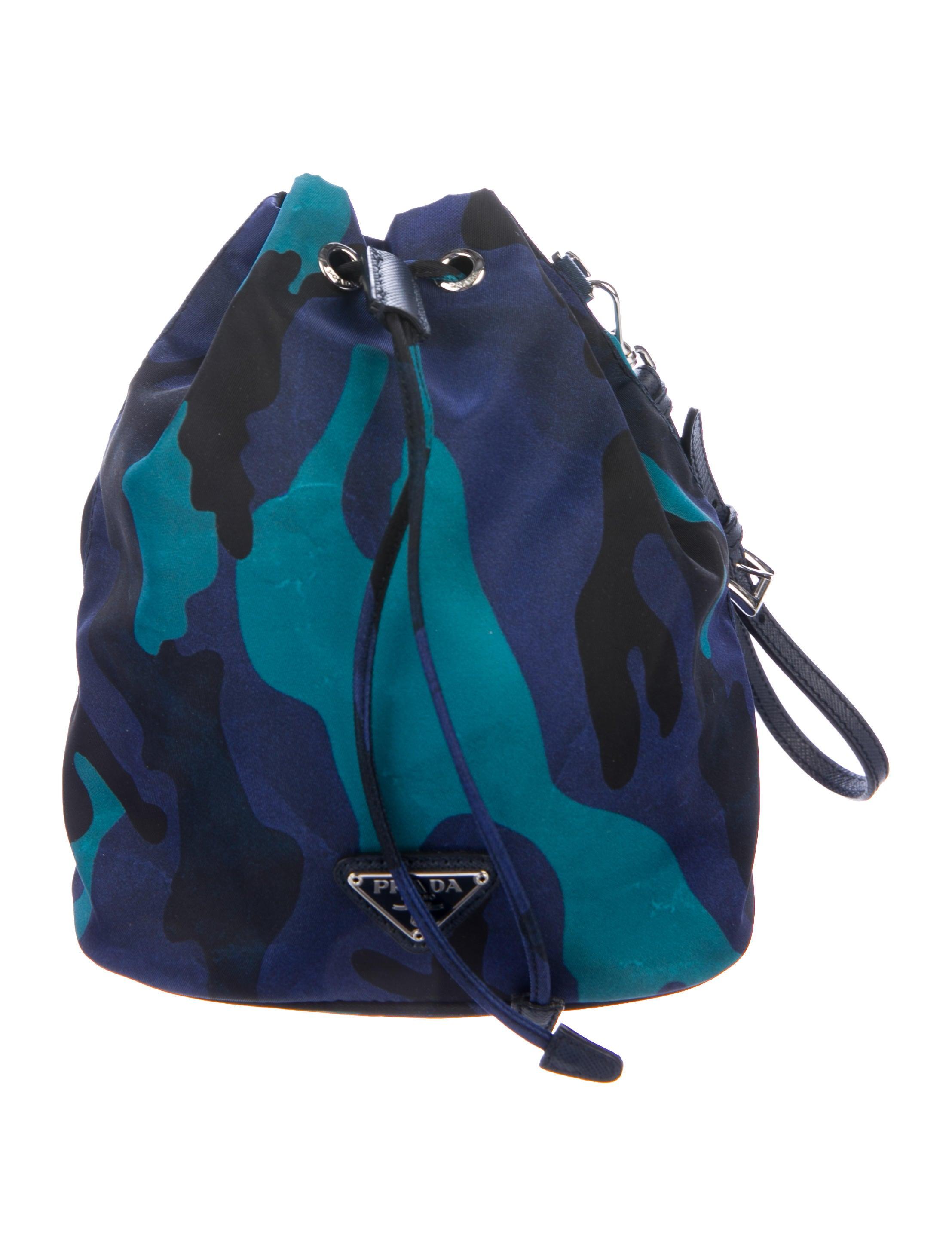b353915229c4e2 Prada Camouflage Print Necessaire Drawstring Pouch - Handbags ...