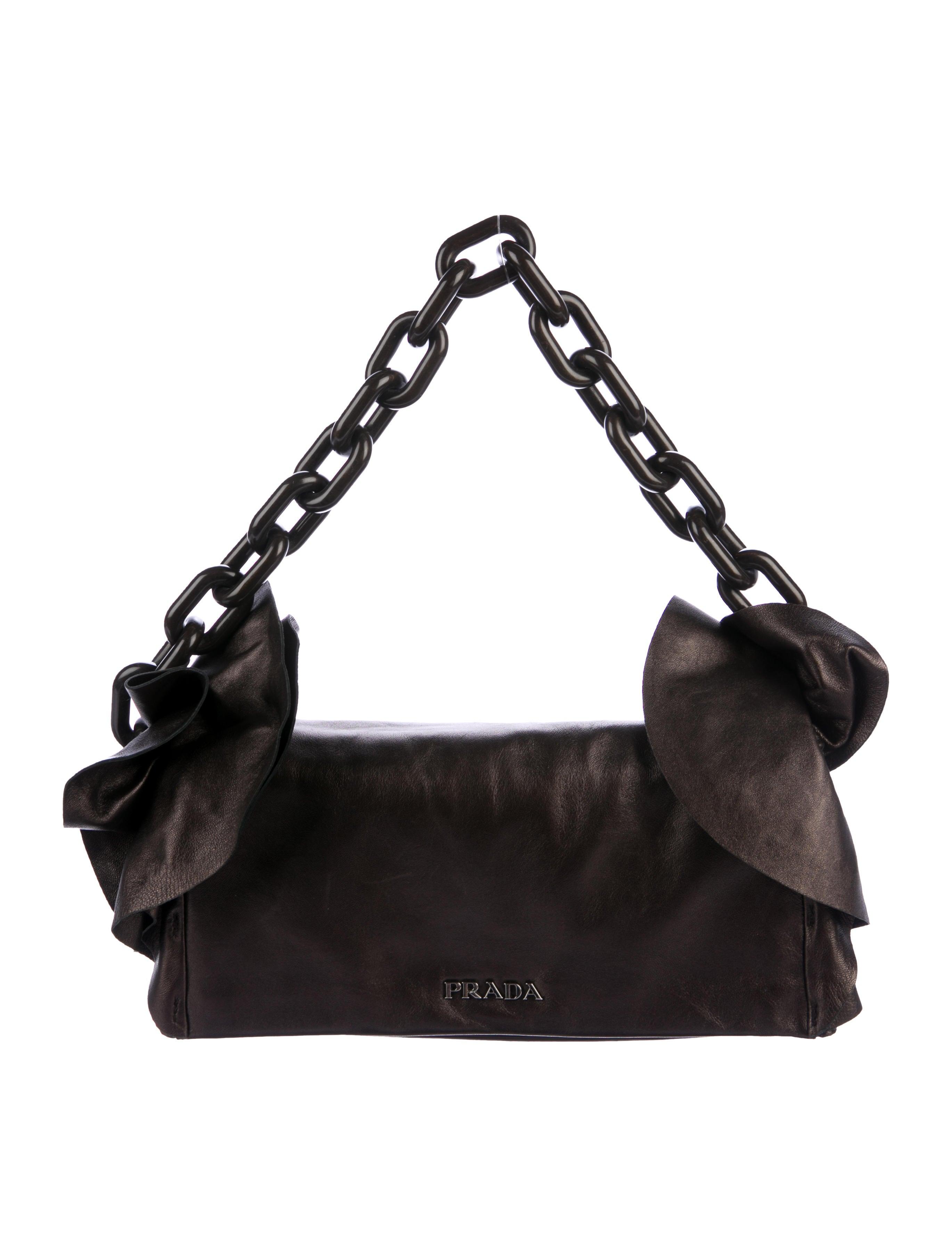 Pradaruffled chain shoulder bag Livraison Gratuite Profiter Réduction À Faible Frais D'expédition Magasin De Vente Pour Pas Cher oXlfY