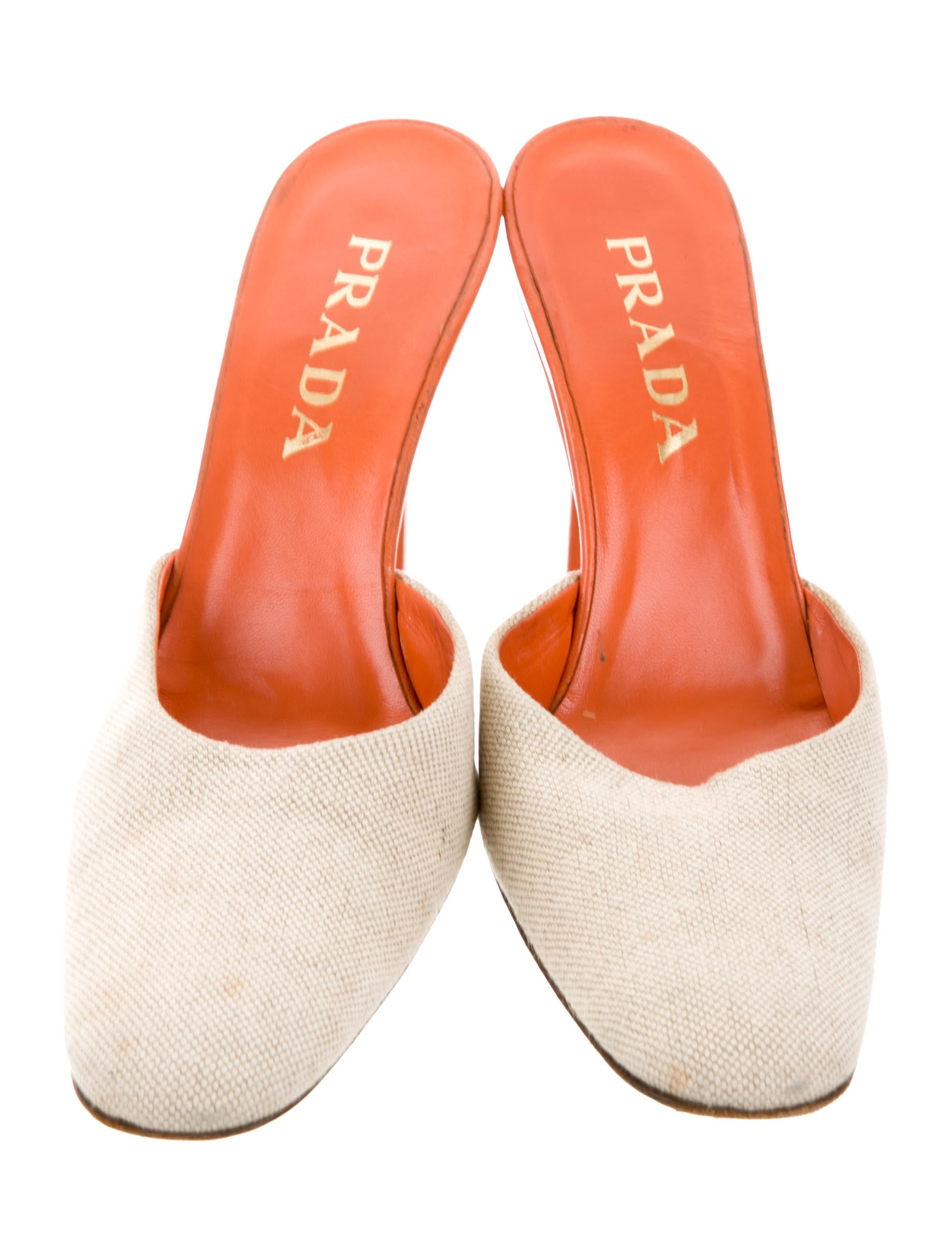 Prada Canvas Round-Toe Mules