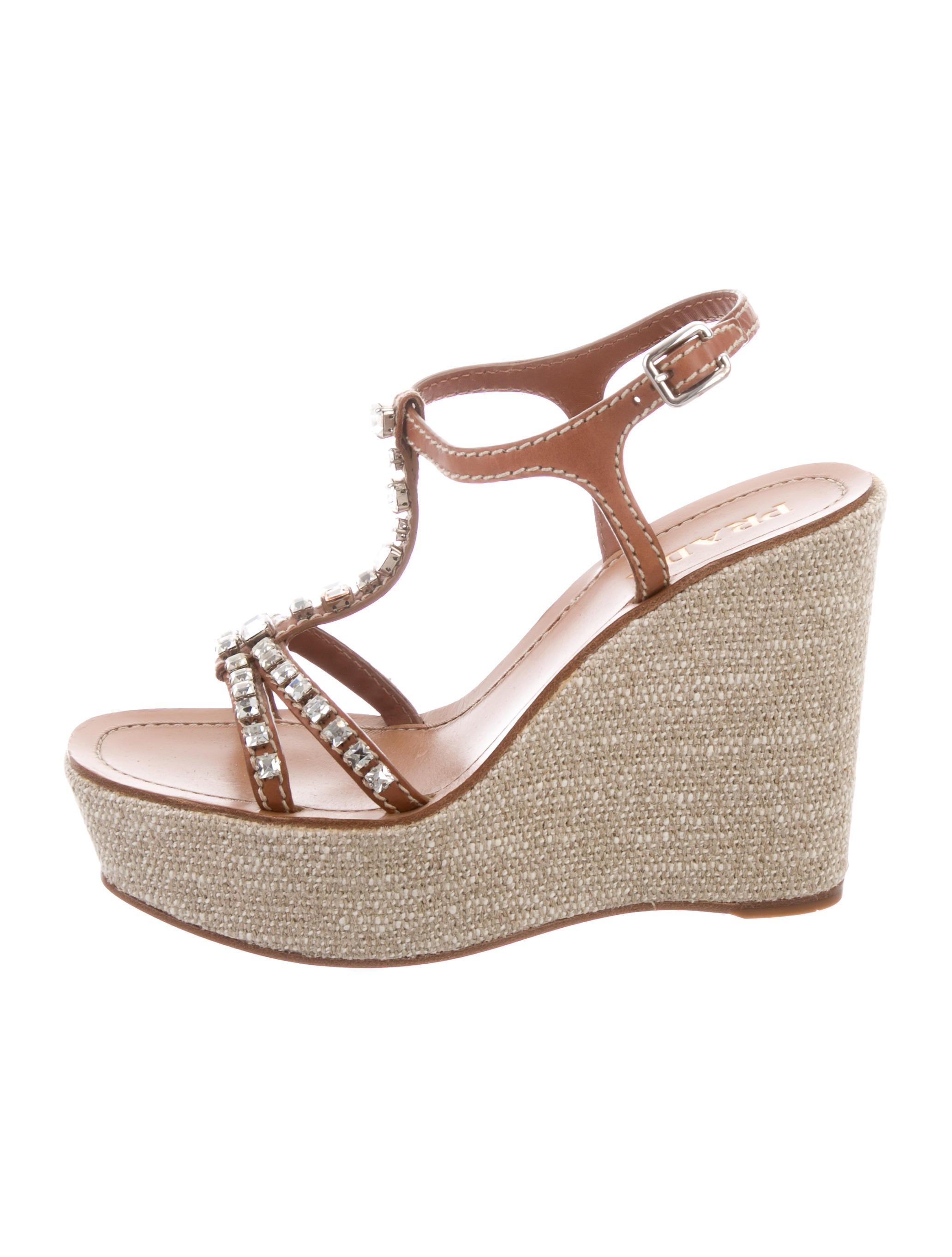 free shipping footlocker Prada Jewel-Embellished Leather Wedges free shipping best place find great affordable for sale 7SwRjT