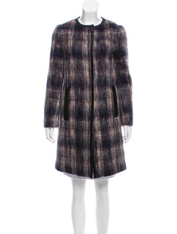 Prada Leather-Trimmed Mohair Coat None