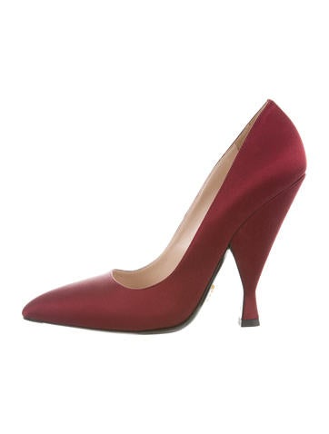Prada Pointed-Toe Satin Pumps None