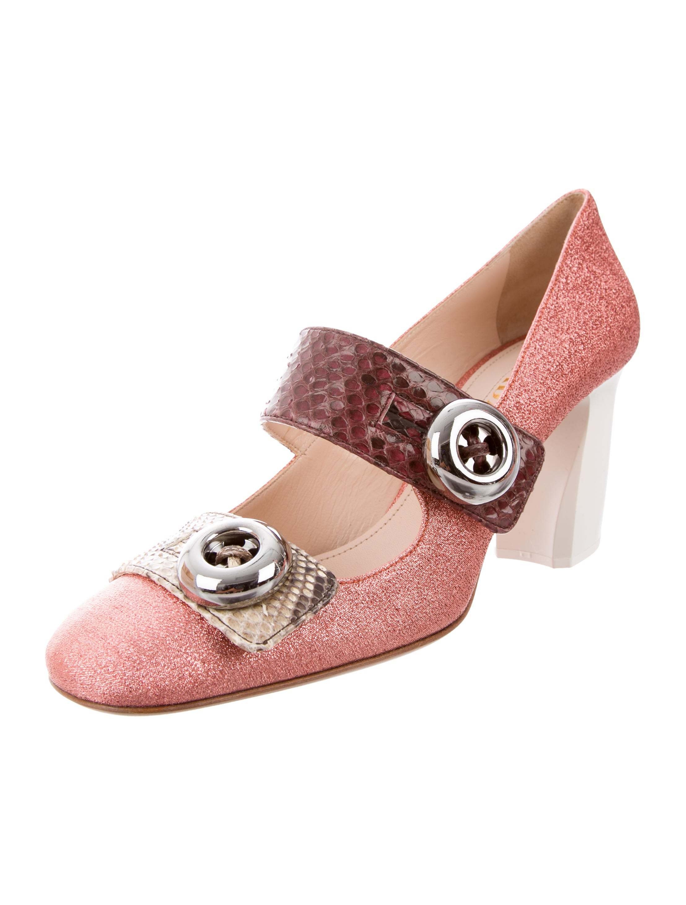Prada Snakeskin-Trimmed Square-Toe Pumps w/ Tags eastbay free shipping limited edition cheap sale best Kt6JP