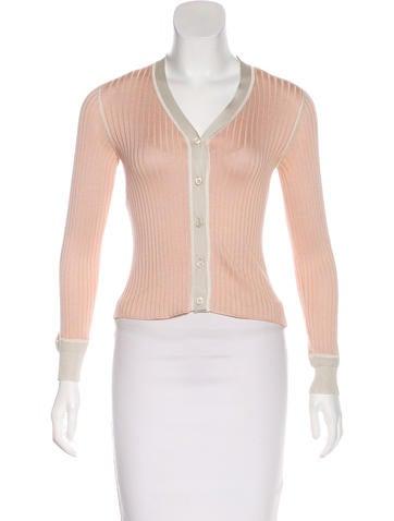 Prada Rib Knit Button-Up Cardigan None