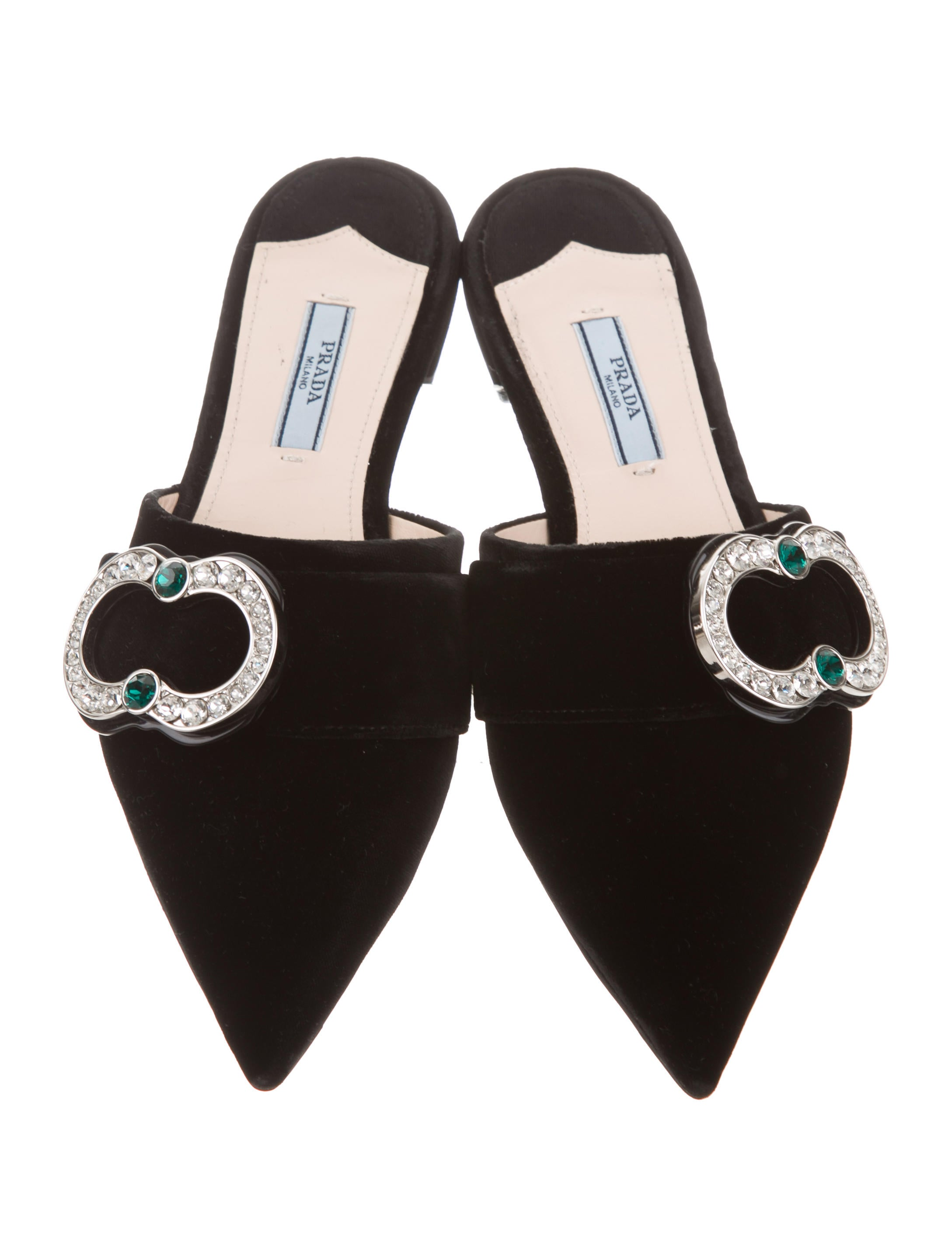 outlet free shipping authentic 2014 sale online Prada Jewel-Embellished Pointed-Toe Mules w/ Tags cheap sale release dates outlet free shipping Vxsz5v54y
