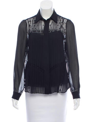 Prada Pleated Button-Up Top None