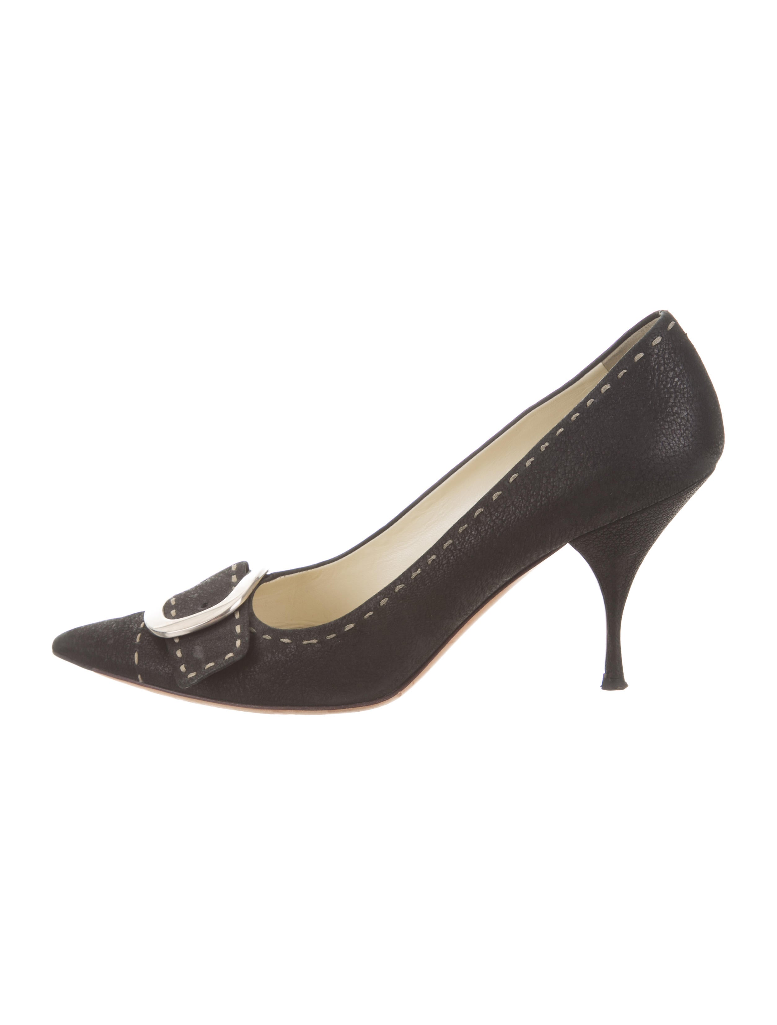 Prada Buckle-Accented Pointed-Toe Pumps discount websites big discount sale eastbay discount excellent cheap purchase HNSMSHUjY