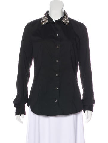 Prada Embellished Button-Up Top None
