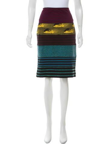 Prada Paneled Pencil Skirt None