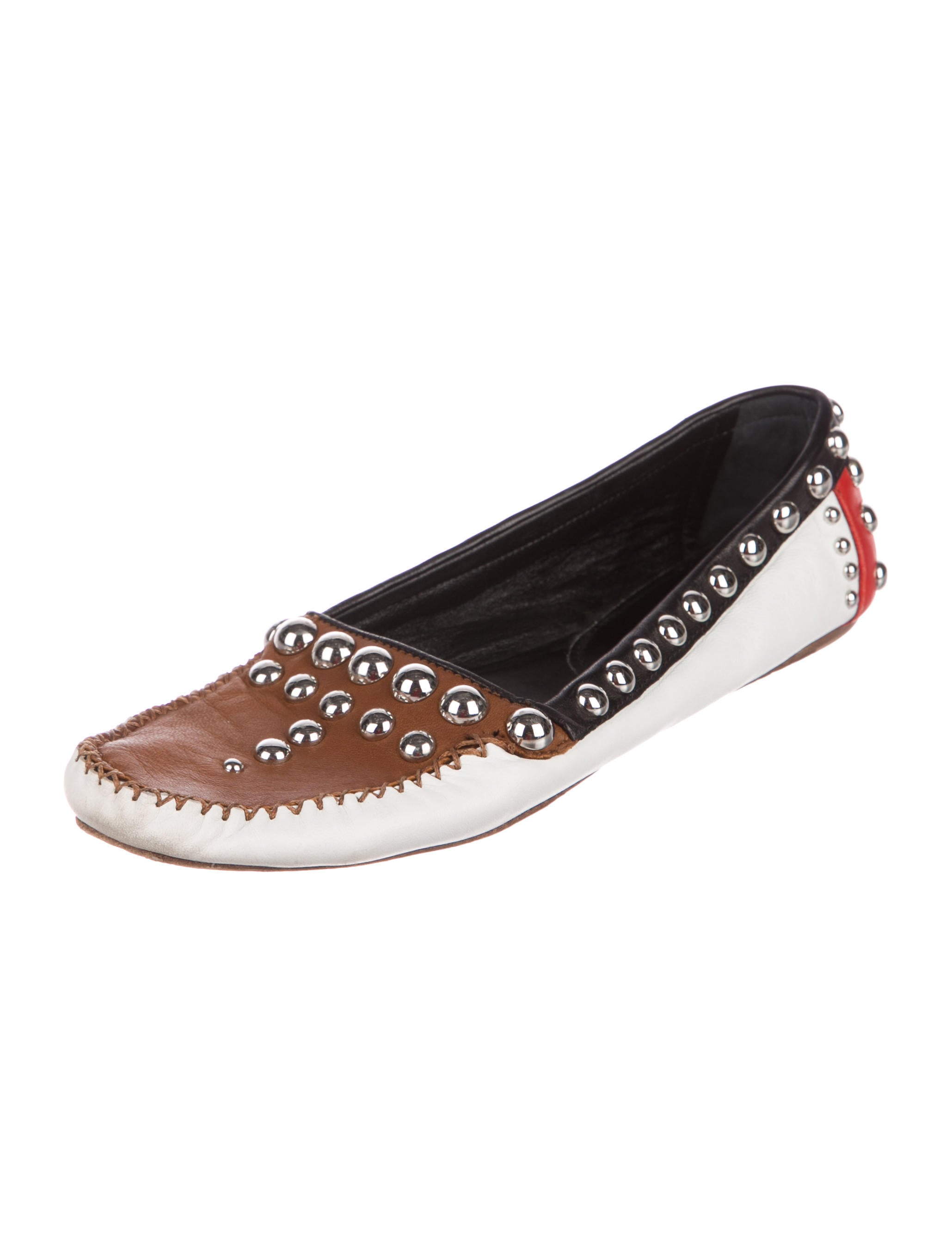 outlet best seller cheap sale low shipping Prada Patchwork Studded Loafers cheap prices authentic 6taqBn