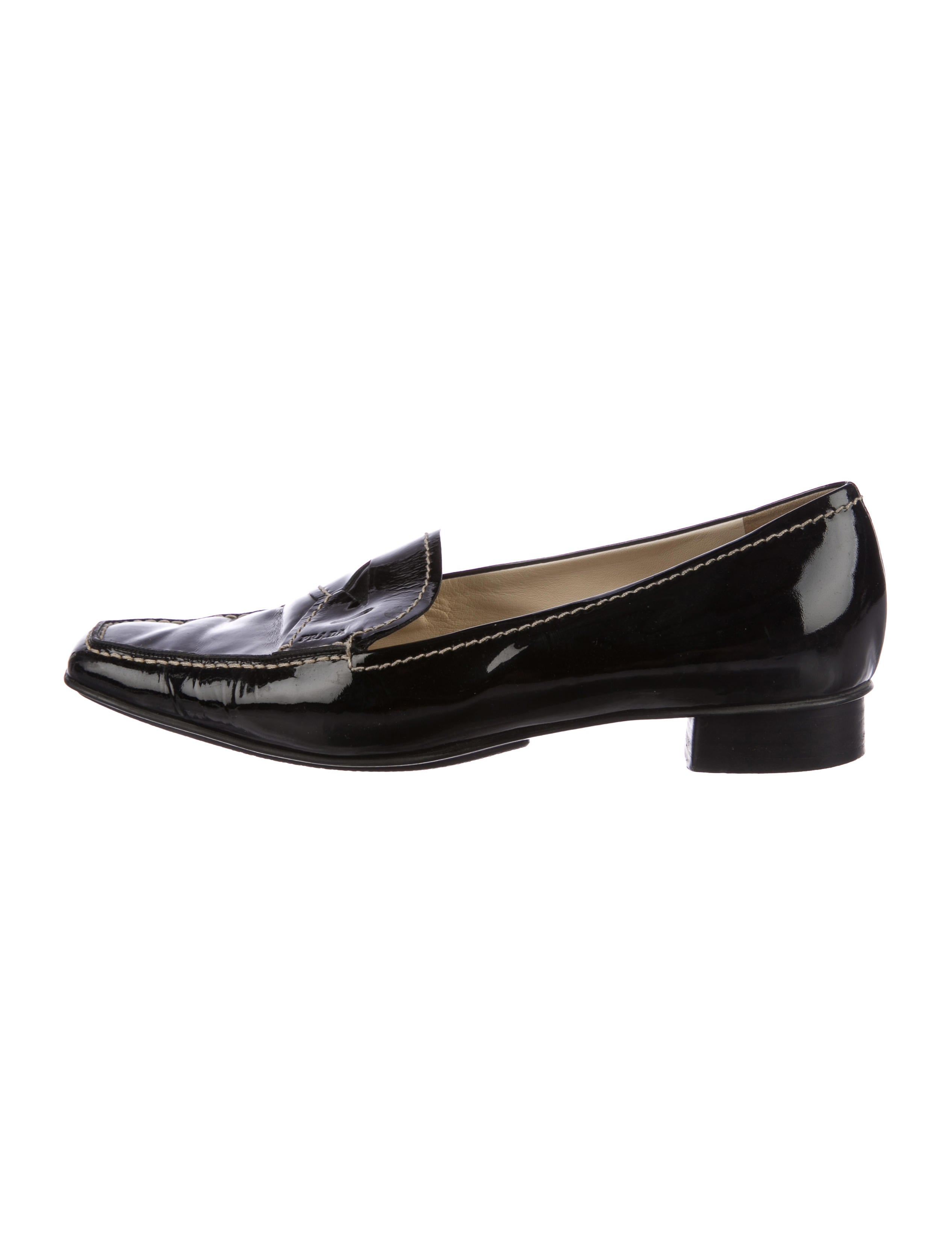 Prada Patent Square-Toe Loafers new styles sale online RBuE8gHuw