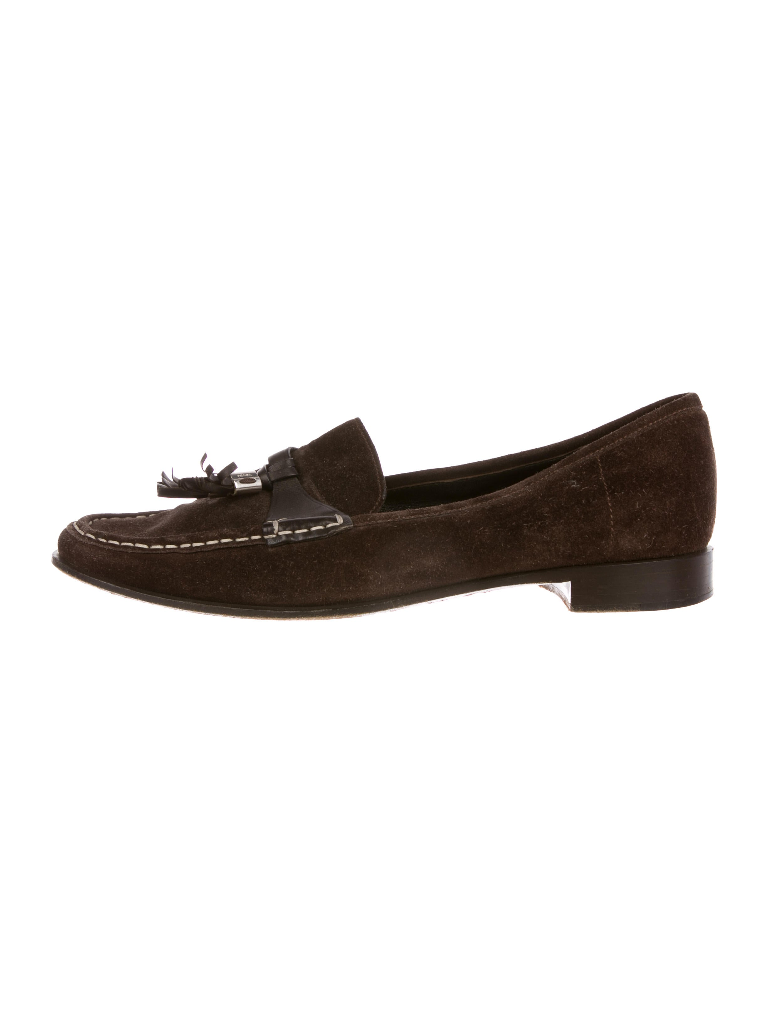 Prada Suede Round-Toe Loafers cheap big sale free shipping shop for cheap shop for clearance buy BOiXWY0