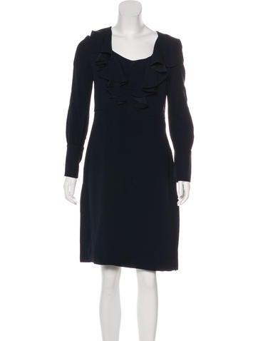 Prada Ruffle-Trimmed Knee-Length Dress None