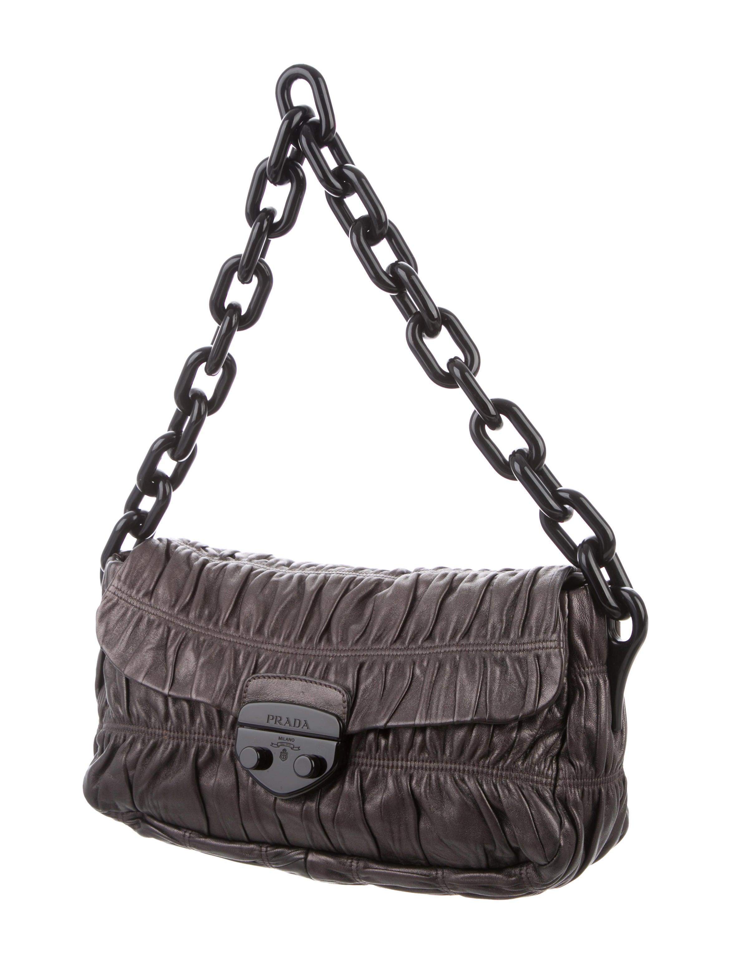 Prada Nappa Gaufre Shoulder Bag - Handbags - PRA201665   The RealReal 7d6bcc82e6
