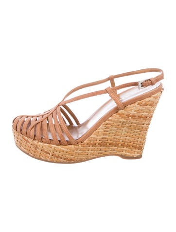 Prada Leather Woven Wedges None