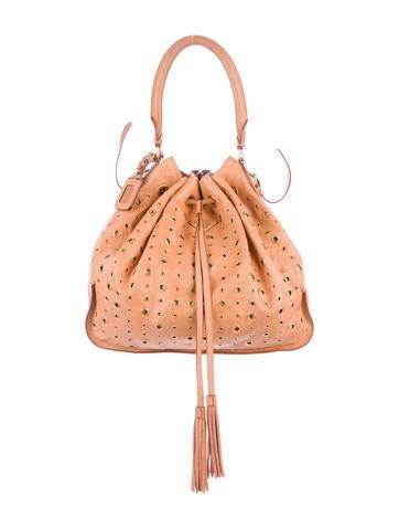 a51f030aa7 Prada Leather-Trimmed Drawstring Tessuto Hobo - Handbags - PRA203756 ...