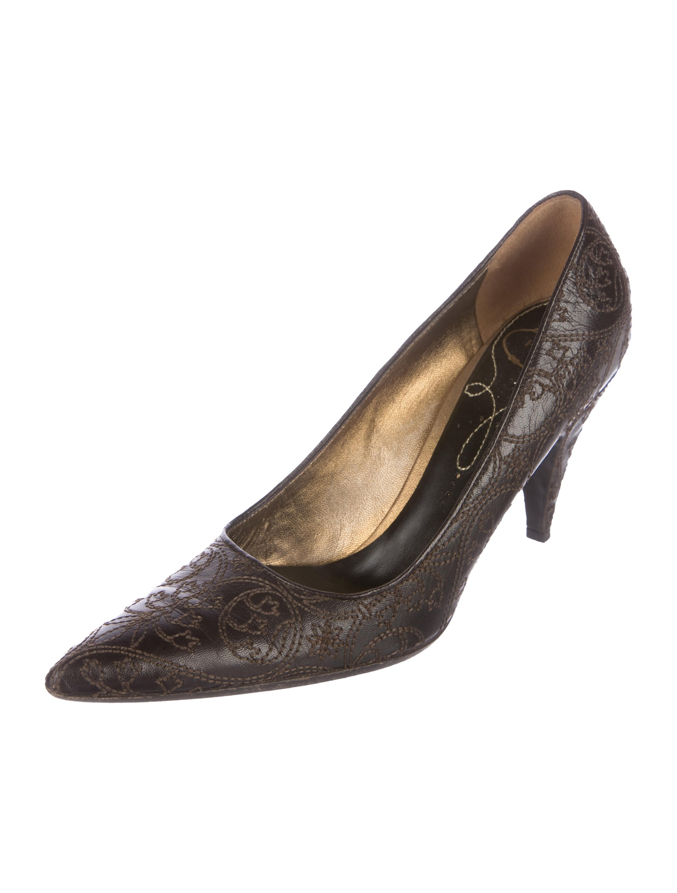 Cheap Sale Countdown Package Discount From China Prada Embroidered pointed pumps TWGyieseF7