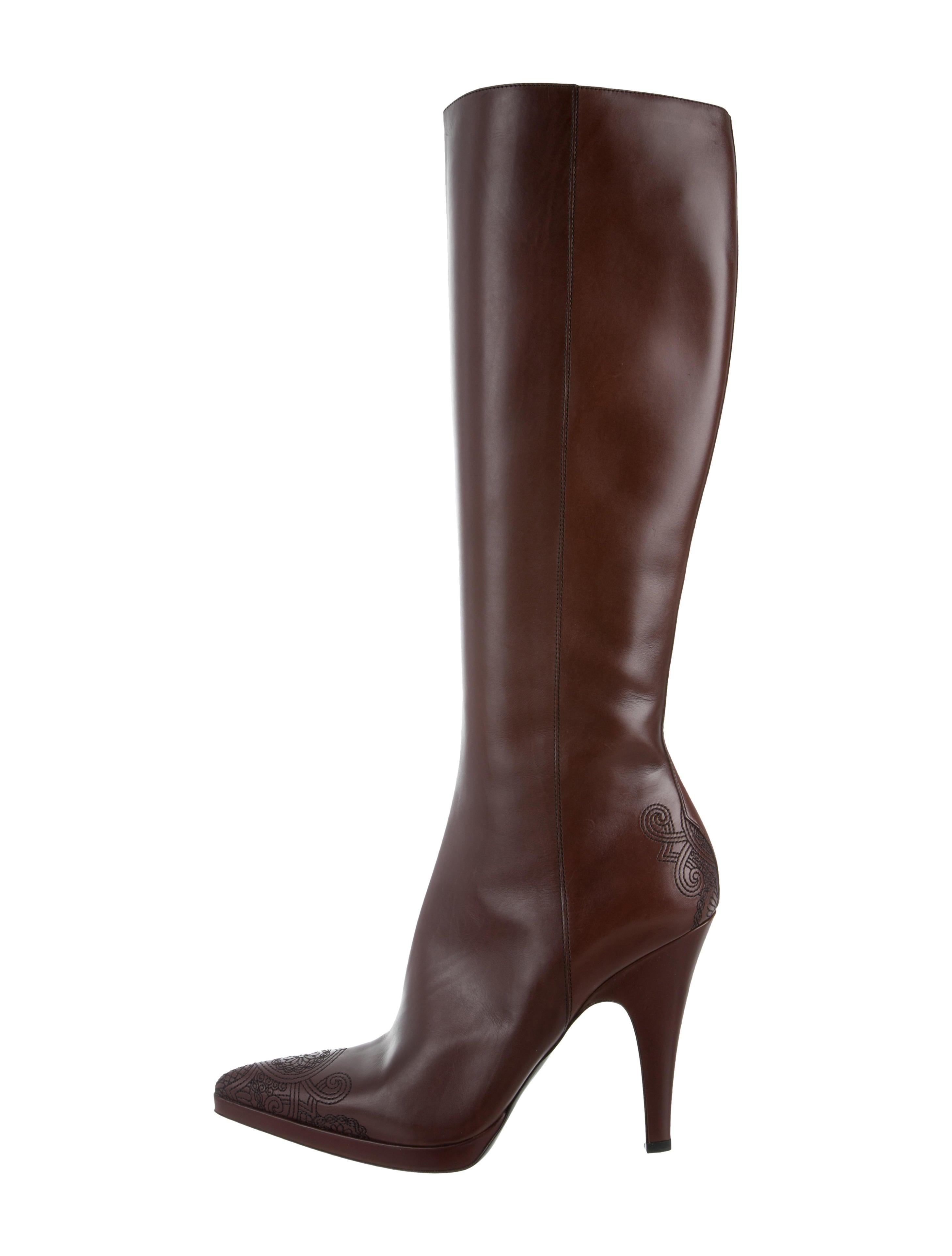 Prada Flower Chic Knee-Length Boots w/ Tags cheap sale supply XMeUwD