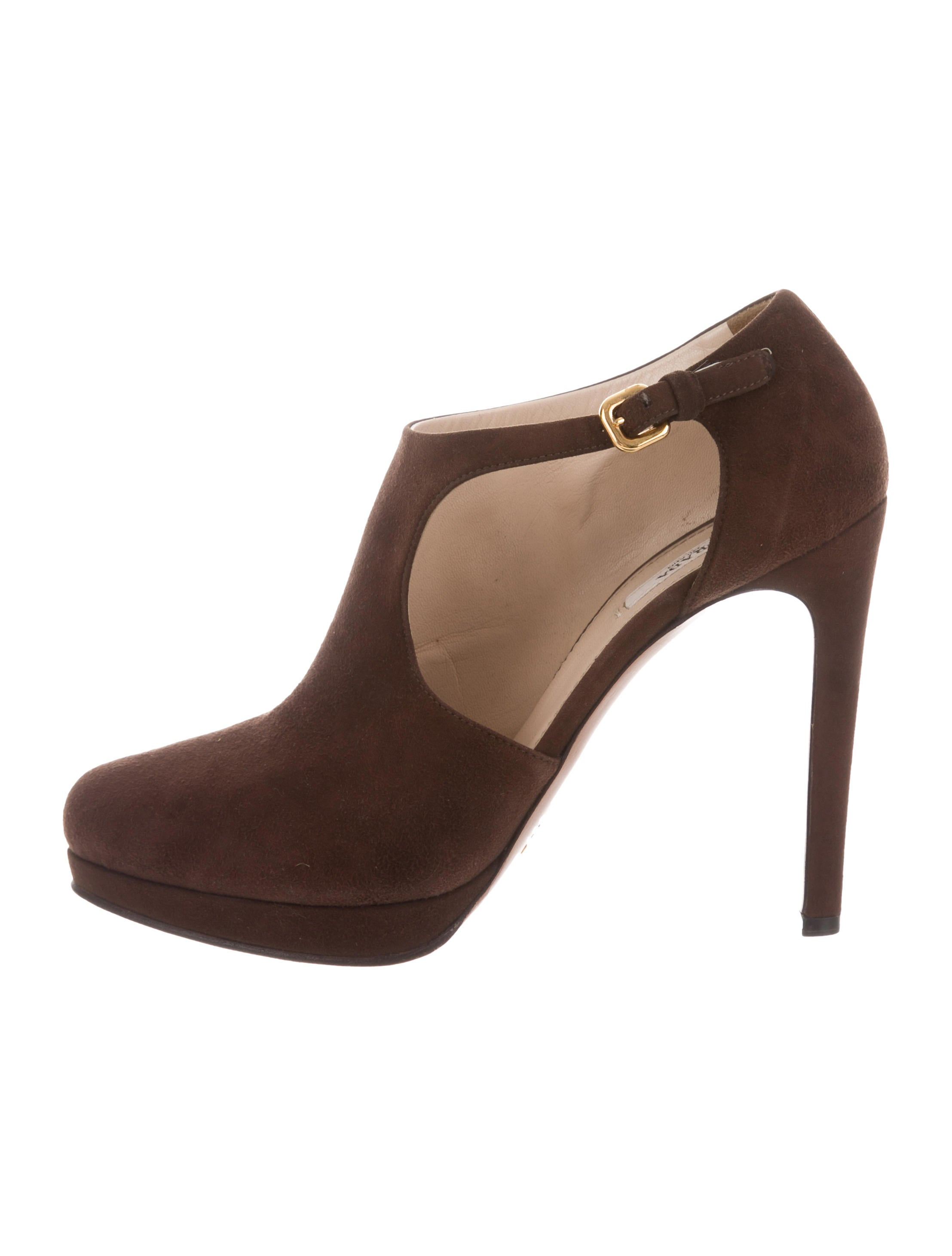 Prada Suede Round-Toe Booties cheap sneakernews cheap outlet locations free shipping best sale axrGsjGkJw