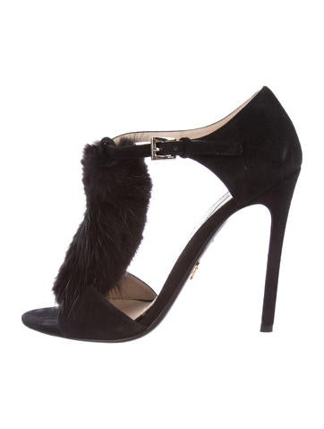 Prada Mink-Trimmed Suede Sandals buy cheap ebay pqvQXDkBDq
