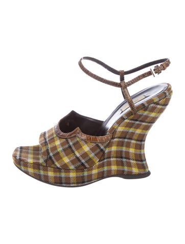 Prada Lizard-Trimmed Plaid Wedges Inexpensive ld7Jld