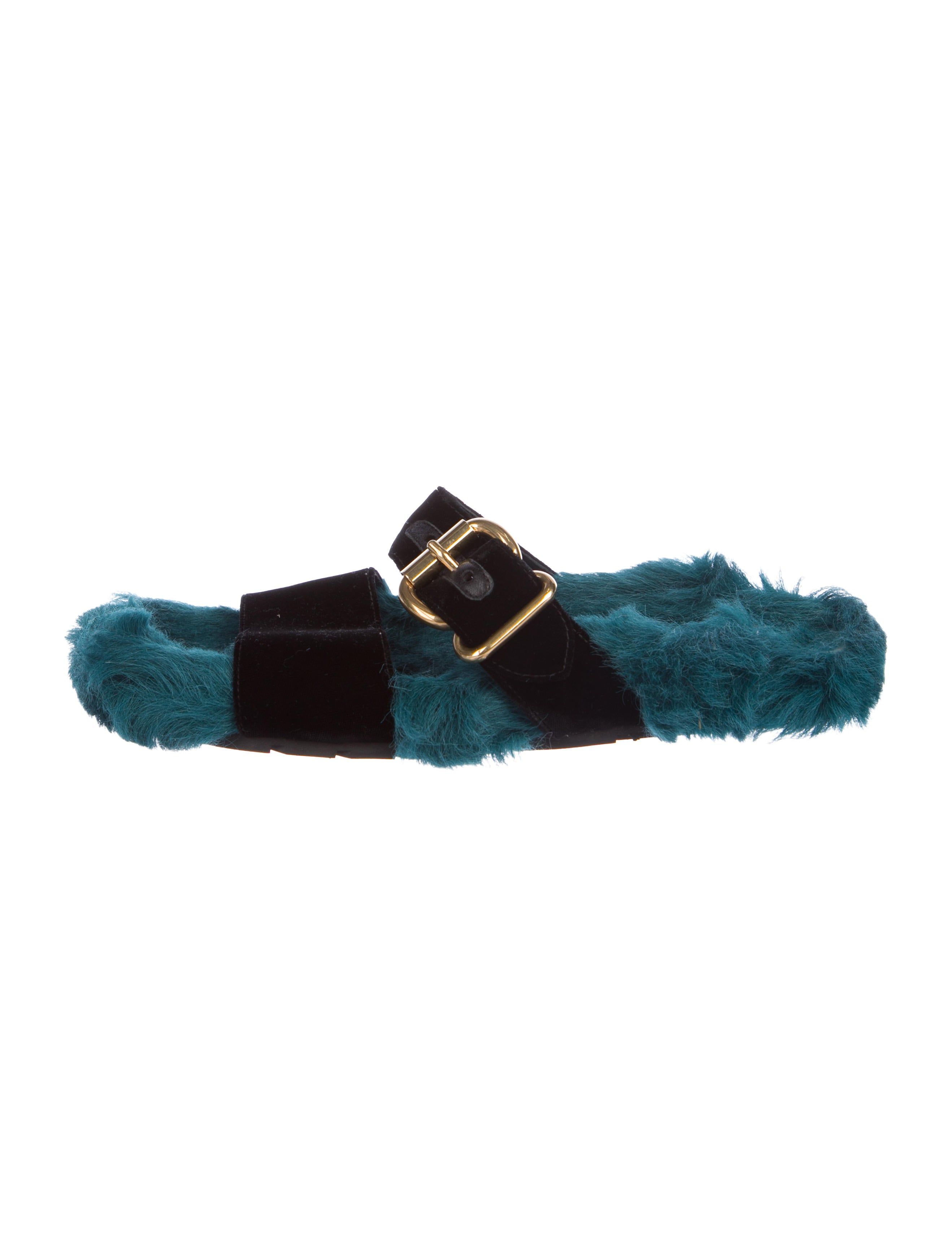 61db3ef8708 Prada Fur-Trimmed Velvet Sandals - Shoes - PRA220255