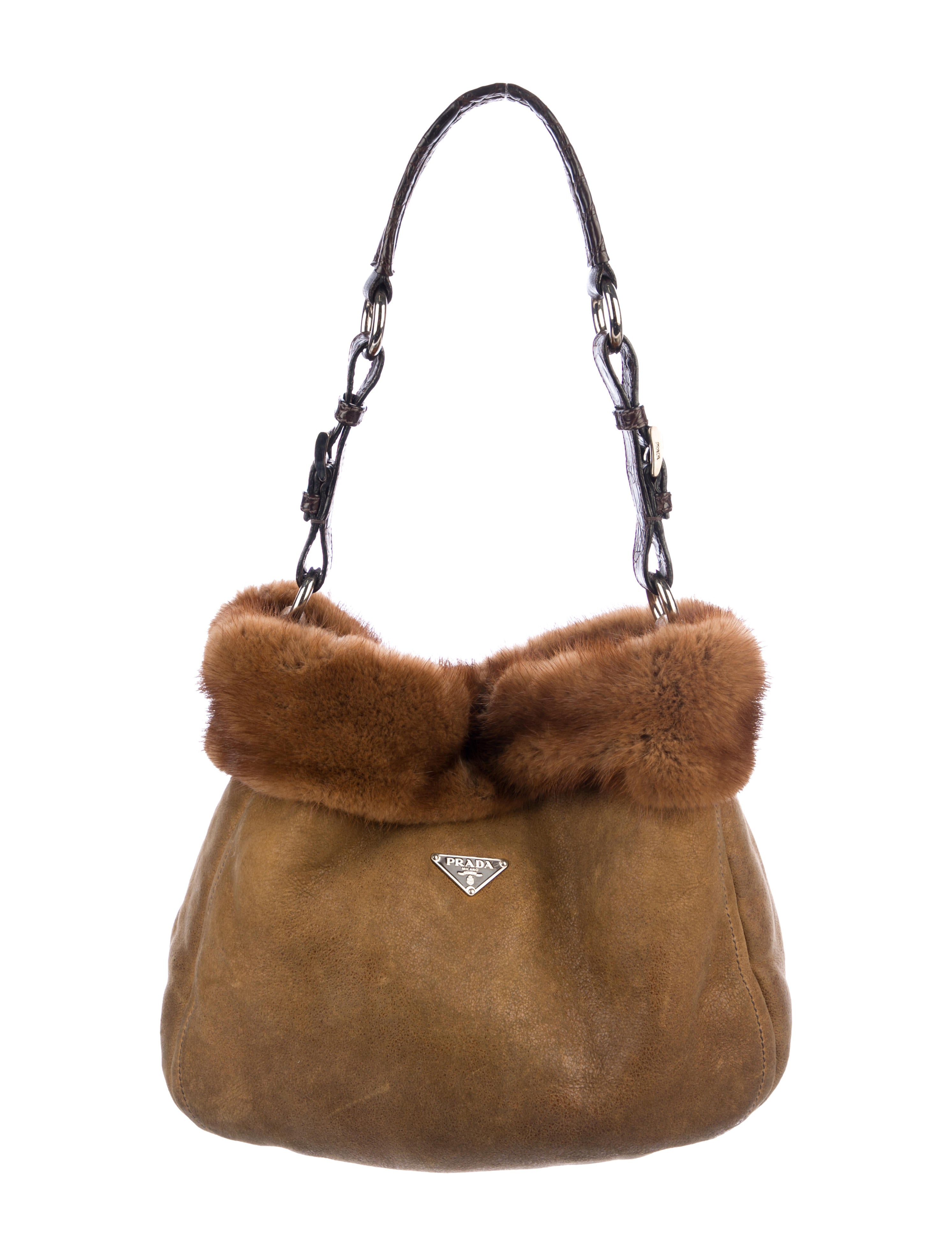 8c5a9c0e46e4 Prada Mink & Crocodile Hobo - Handbags - PRA229038   The RealReal
