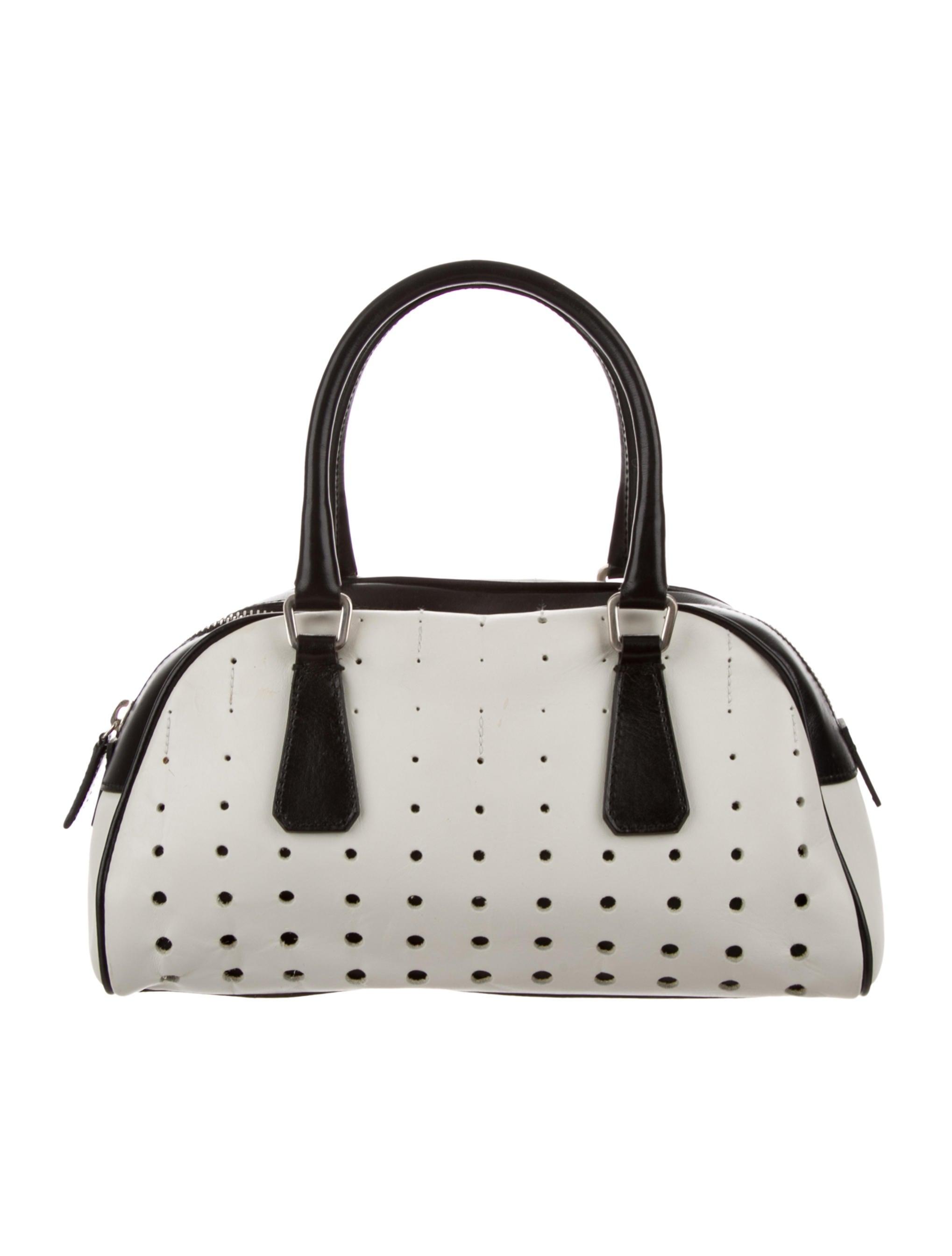 Prada Perforated Bowler Bag - Handbags - PRA243734  cf8b07657ad62