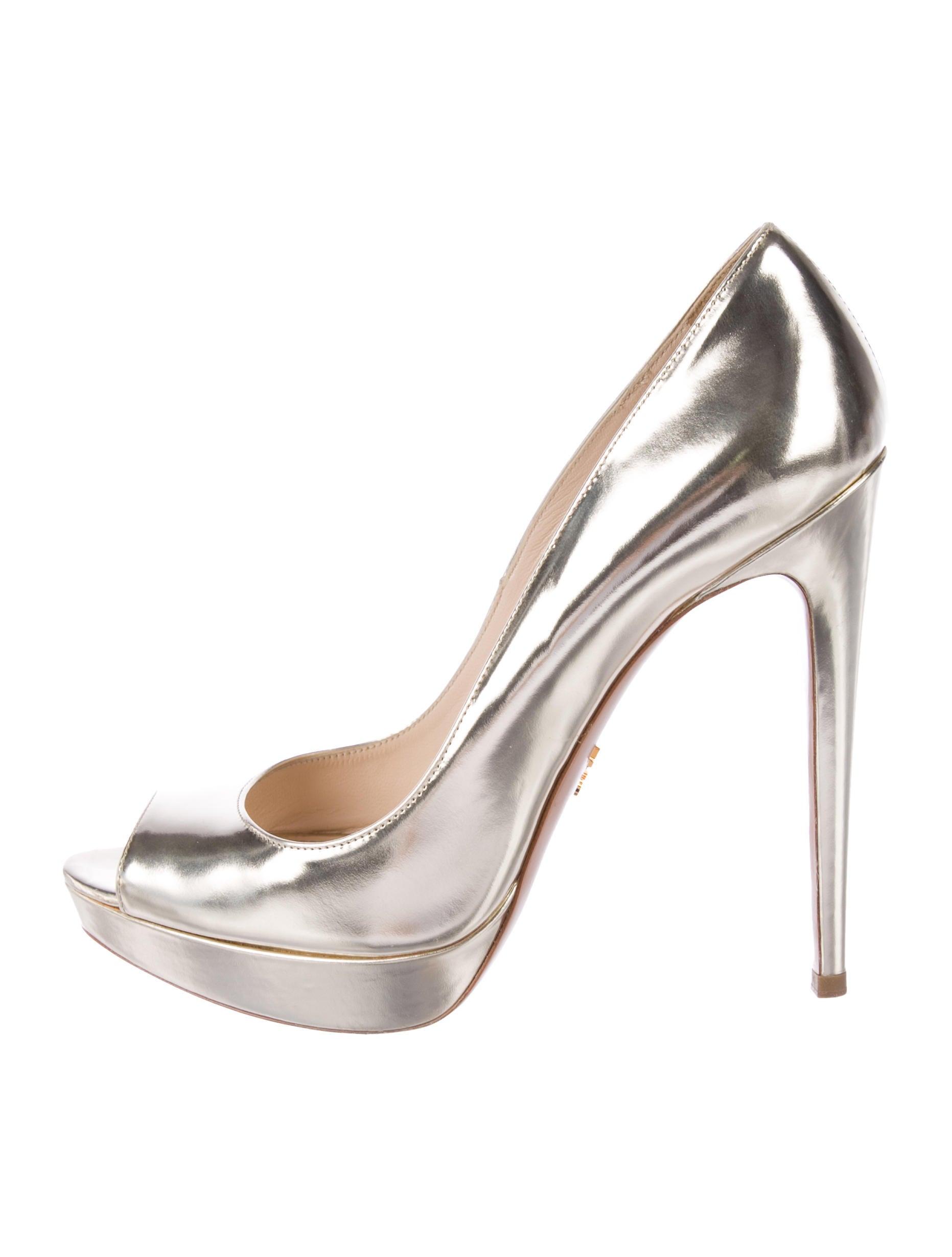 c594b386c Prada Metallic Peep-Toe Pumps - Shoes - PRA246537