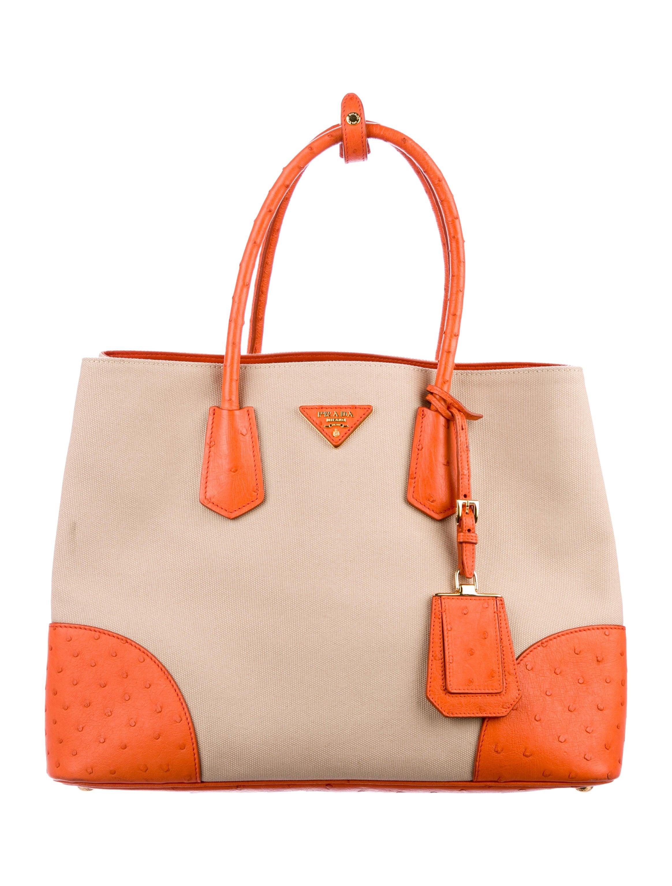 5ee4f31c682 Prada Ostrich-Trimmed Medium Double Tote - Handbags - PRA251293 ...