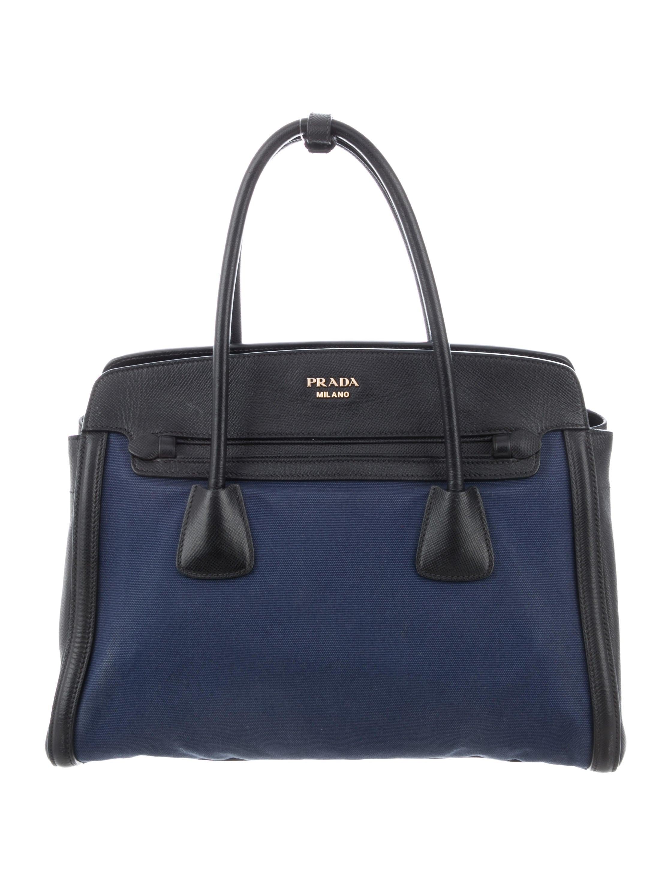 afc5c9384f59 Prada Saffiano-Trimmed Canvas Handle Bag - Handbags - PRA260912 ...