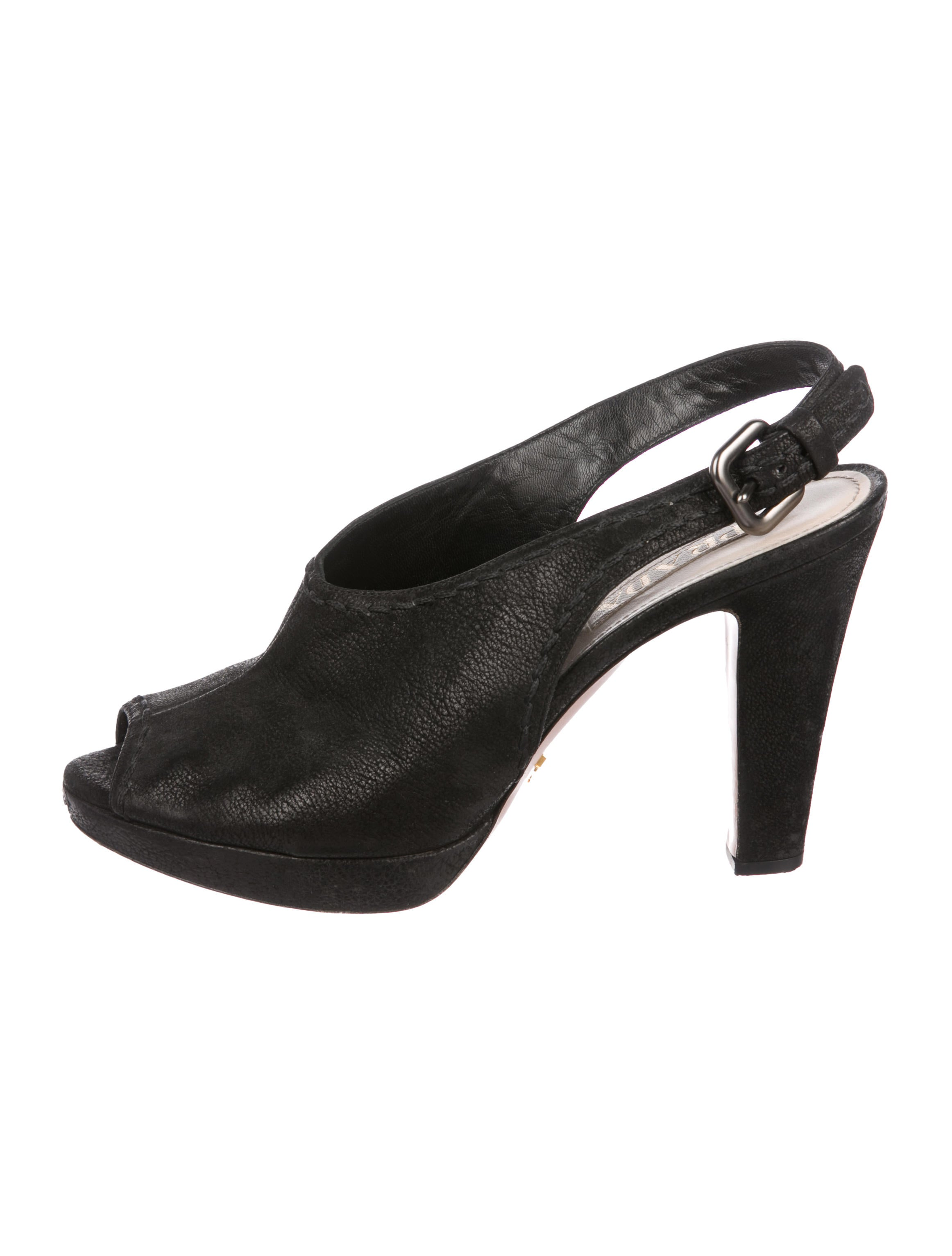377a63343ae Prada Leather Peep-Toe Slingback Pumps - Shoes - PRA268503