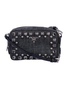 11ca52258390 Prada. Embellished Denim Camera Bag