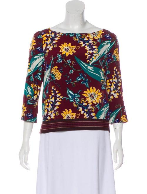 Prada Silk Long Sleeve Blouse multicolor