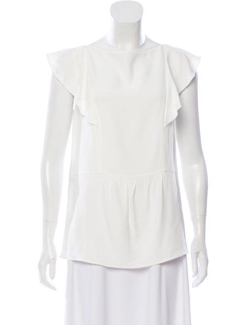 Prada Woven Ruffle-Accented Blouse White - image 1