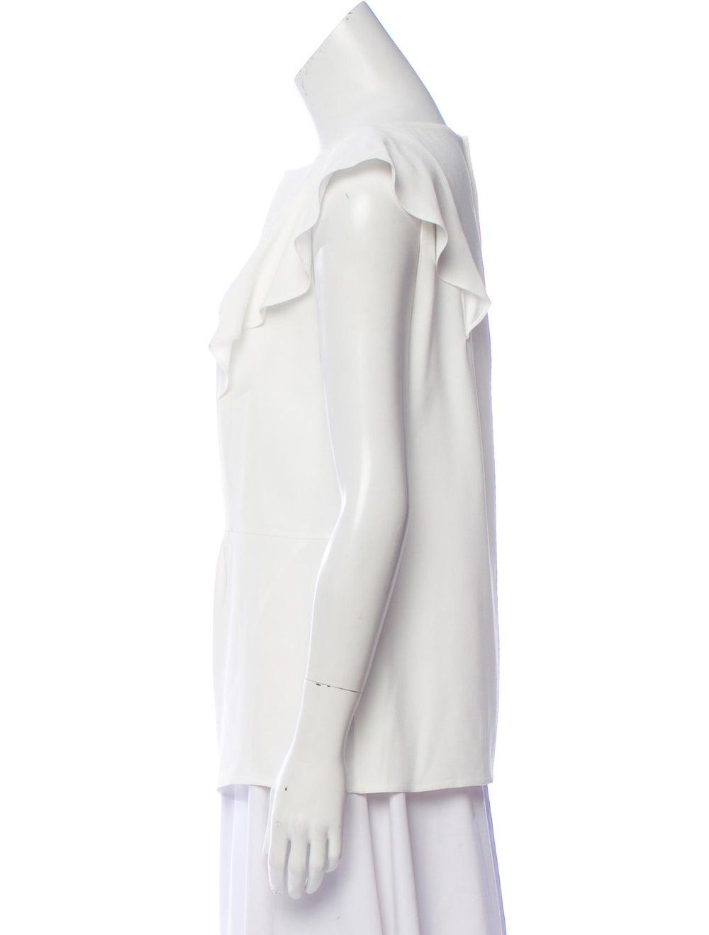 Prada Woven Ruffle-Accented Blouse White - image 2