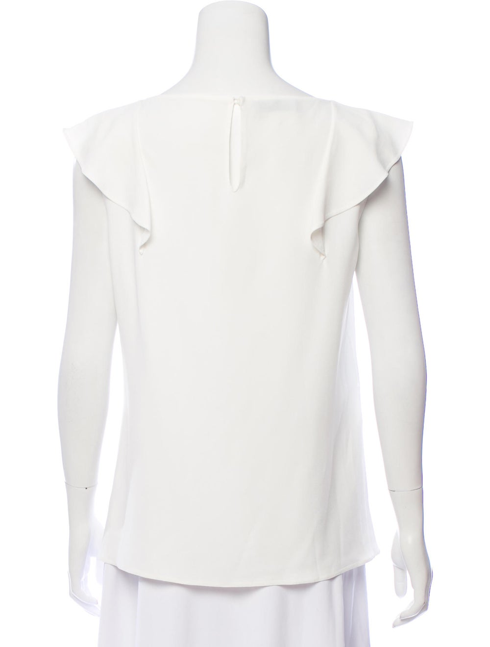 Prada Woven Ruffle-Accented Blouse White - image 3