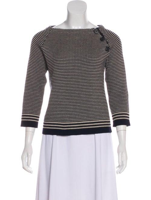Prada Striped Knit Sweater Navy