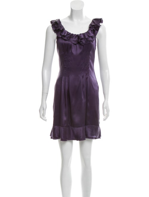 Prada Satin Mini Dress Aubergine
