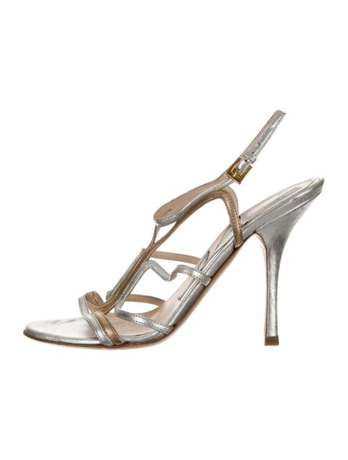 Prada Metallic Strappy Sandals Silver