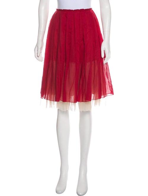 Prada Pleated Knee-Length Skirt Red