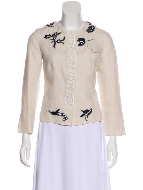 Prada Linen Embroidered Jacket Beige