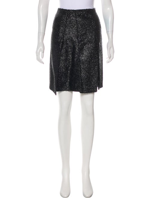 Prada Metallic A-Line Skirt Metallic